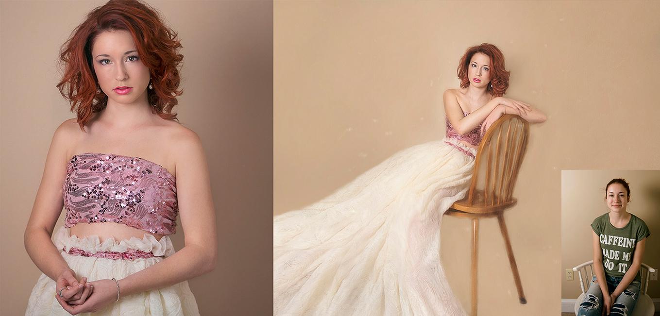 wear long ivory gown senior girl