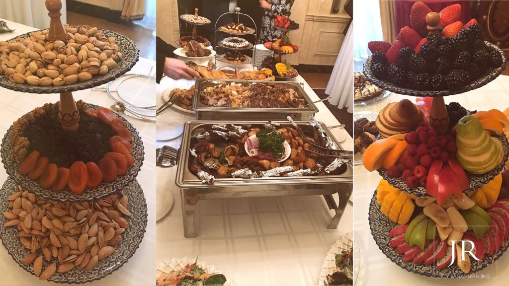 Uzbek cuisine prepared meal at Uzbek Embassy in Washington DC