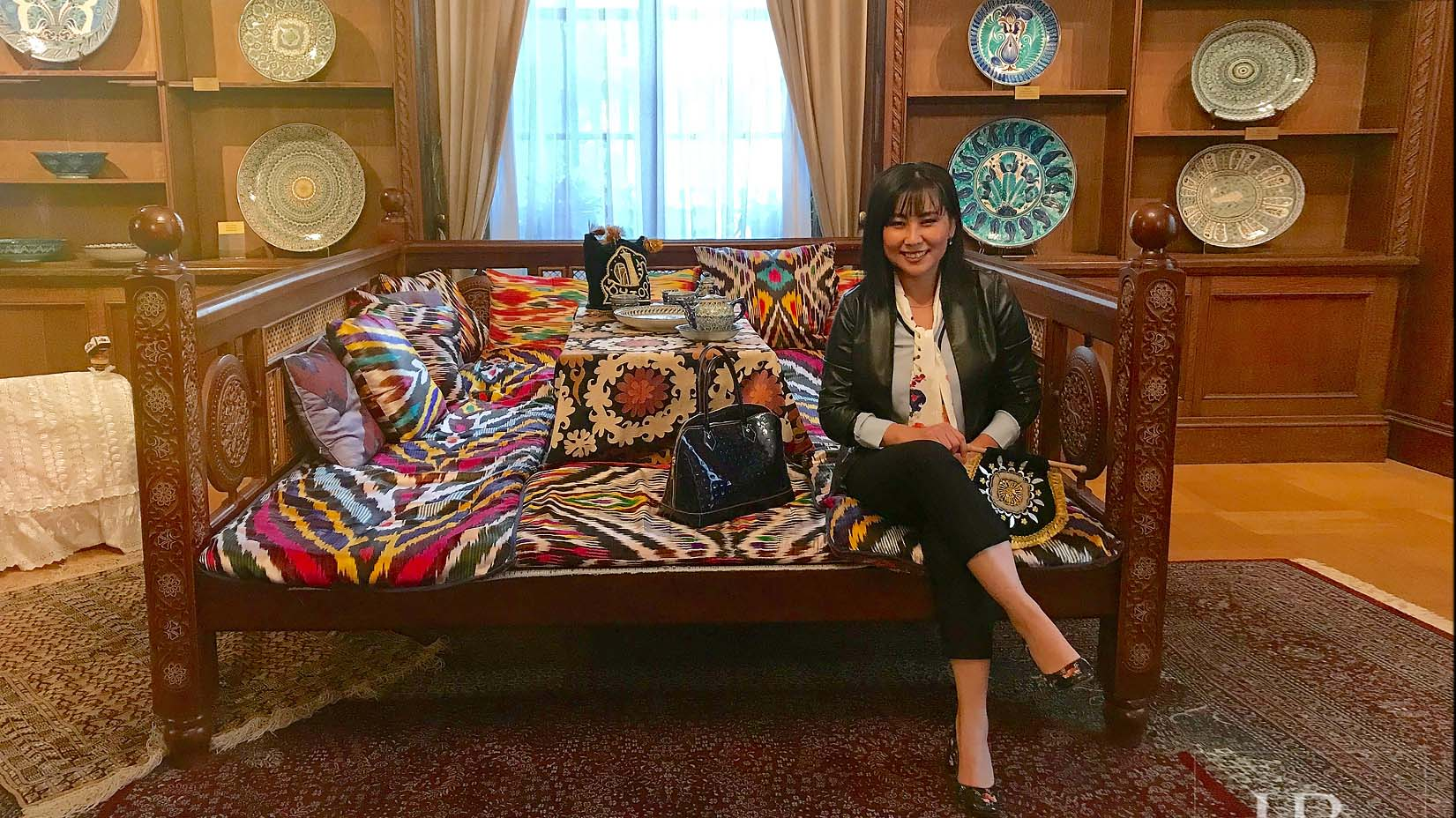 Traditional Uzbek topchan with silk pillows and handmade mattresses