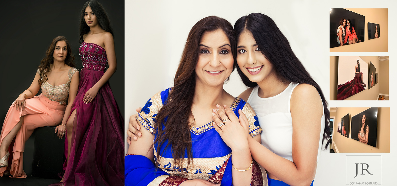 Indian mother and daughter studio portraits