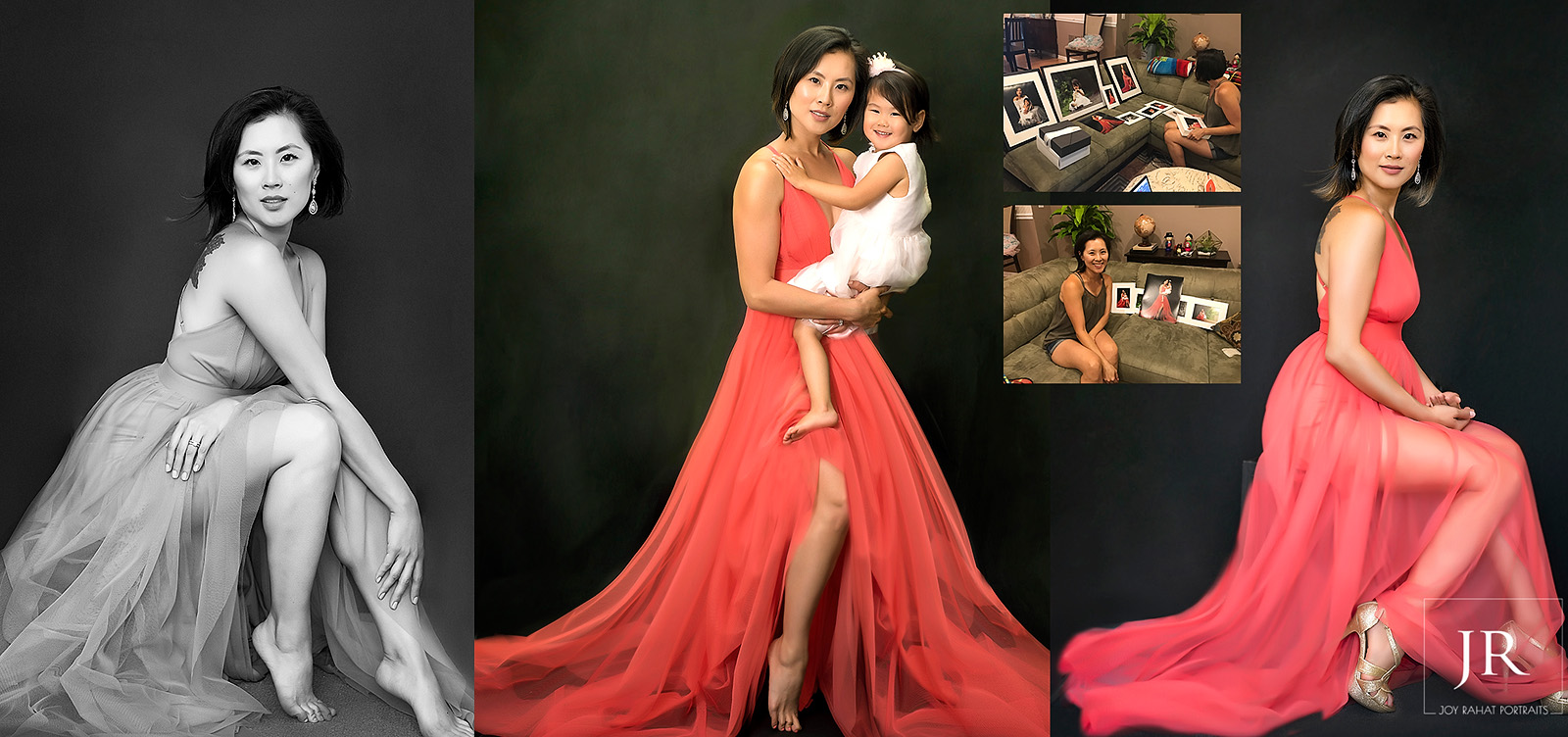 Mother daughter Asian family portraits