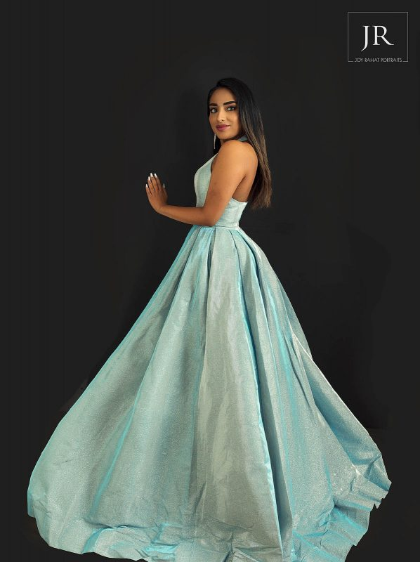 Blue long prom dress with pockets