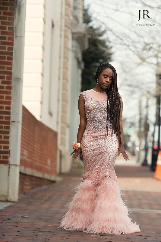Terani Couture add a dramatic element to the dress while keeping it perfectly balanced with the sparkles. Signature dress, Georgetown DC.